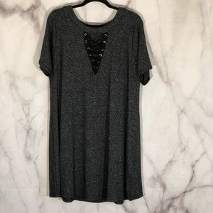 Dresses & Skirts - Boutique brand lace up neck grey swing dress 3X